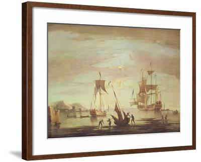 Shipping Becalmed Off Shore at Sunset-Peter Monamy-Framed Giclee Print