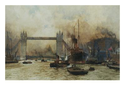 Shipping by Tower Bridge, London, England-Charles Dixon-Giclee Print