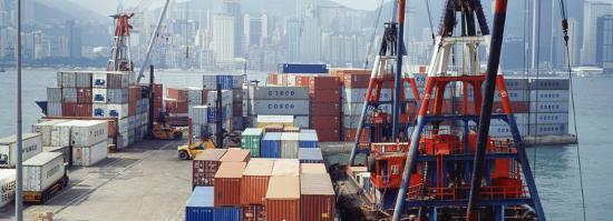 Shipping Containers, Victoria Harbor, Hong Kong, China--Photographic Print