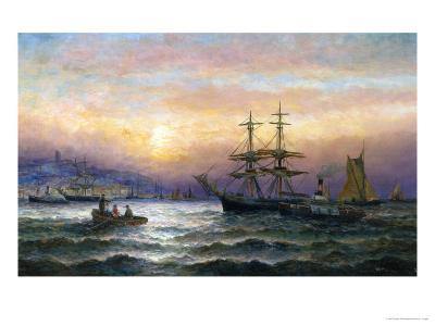 Shipping in the Mouth of the Medway, Evening-Charles Thorneley-Giclee Print