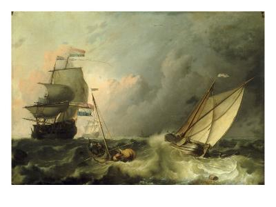 Shipping on a Choppy Sea-Ludolf Backhuysen-Giclee Print