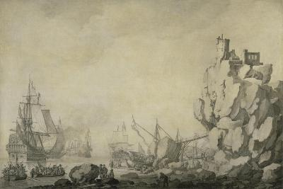 Ships and Militia by a Rocky Shore, C.1680 (Pen and Ink on Prepared Canvas)-Willem Van De Velde the Elder-Giclee Print