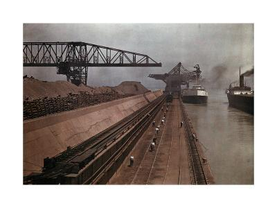 Ships Approach a Vast Dock to Unload Millions of Tons of Iron Ore-Jacob Gayer-Photographic Print