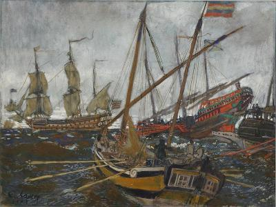 Ships at the Time of Peter I, 1909-Evgeny Evgenyevich Lanceray-Giclee Print