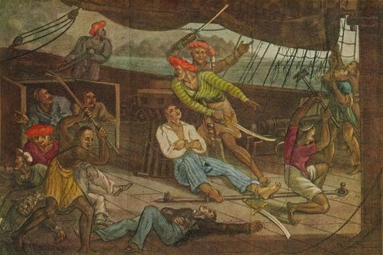 'Ships Attacked by Pirates', c1808-Unknown-Giclee Print