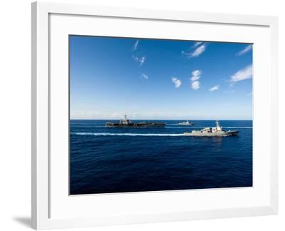 Ships from the John C. Stennis Carrier Strike Group Transit the Pacific Ocean-Stocktrek Images-Framed Photographic Print