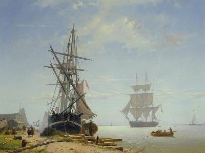 Ships in a Dutch Estuary, 19th Century-W.A. van Deventer-Giclee Print