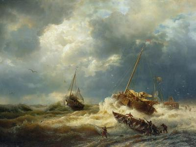 Ships in a Storm on the Dutch Coast, 1854-Andreas Achenbach-Giclee Print
