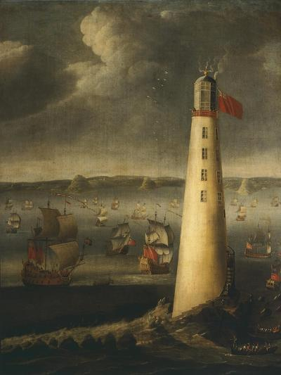 Ships in Front of Rudyerd Lighthouse at Eddystone Rock, 1709, England-Isaias Campenius-Giclee Print