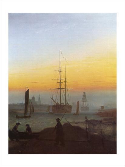 Ships in Greifswald Harbor-Caspar David Friedrich-Giclee Print