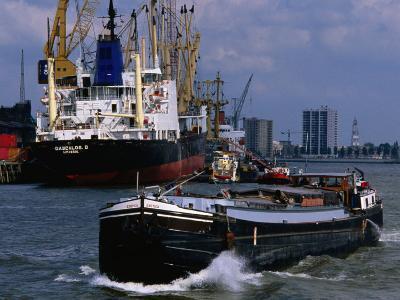 Ships in Rotterdam Harbour, Rotterdam, South Holland, Netherlands-John Elk III-Photographic Print