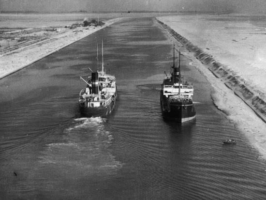 Ships in Suez Canal--Photographic Print