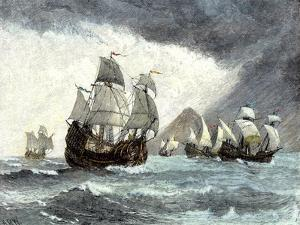 Ships of Ferdinand Magellan Rounding Tierra del Fuego to Circumnavigate the Earth 1519 to 1521
