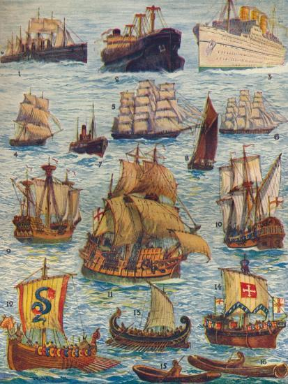 'Ships of many kinds and many centuries', c1934-Unknown-Giclee Print