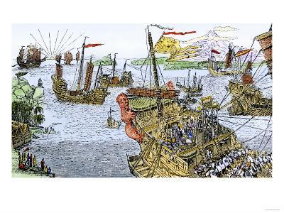 Ships of Marco Polo on the Mediterranean Sea, c.1300--Giclee Print