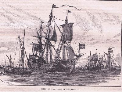 Ships of the Time of Charles II-Charles William Wyllie-Giclee Print