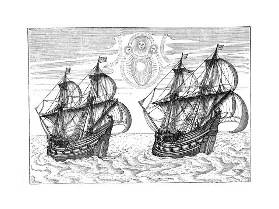 Ships of Willem Barents' Expedition to the Arctic, 1596--Giclee Print