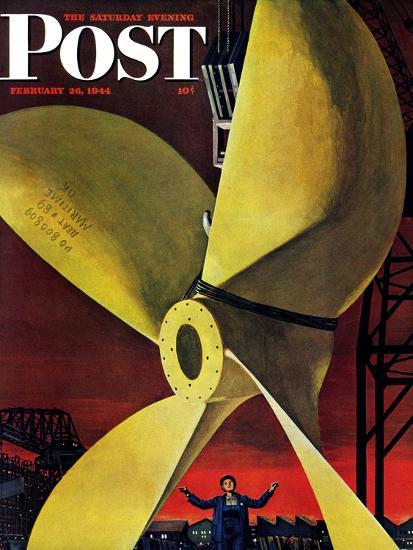"""""""Ships Propeller,"""" Saturday Evening Post Cover, February 26, 1944-Fred Ludekens-Giclee Print"""