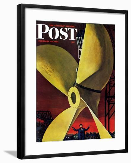 """Ships Propeller,"" Saturday Evening Post Cover, February 26, 1944-Fred Ludekens-Framed Giclee Print"