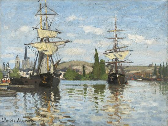 Ships Riding on the Seine at Rouen, 1872- 73-Claude Monet-Giclee Print