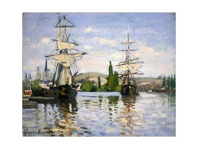 Ships Riding on the Seine at Rouen-Claude Monet-Giclee Print