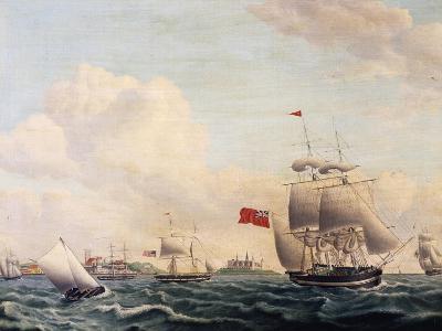 Ships Sailing Through Oresund Strait Between Sweden and Denmark with Kronborg Castle in Background--Giclee Print