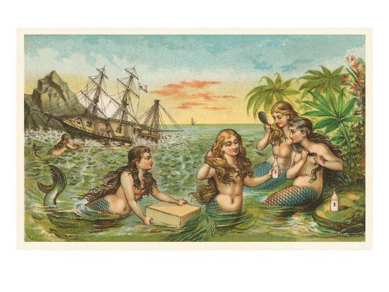 Shipwreck, Mermaids with Salvage--Art Print