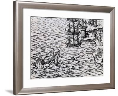Shipwreck of Caravel, Illustration from Conquest of River Plate--Framed Giclee Print
