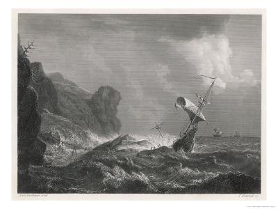 Shipwreck on a Rocky Coastline-T. Heawood-Giclee Print