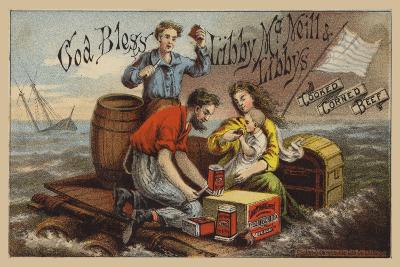 Shipwreck Survivors, Eating Corned Beef on a Raft in Storm--Giclee Print