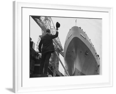 Shipyard Director Waves off the Ship at the Launch of the Transvaal Castle, January 1961--Framed Photographic Print