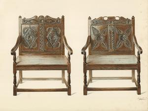 Oak Double Chairs by Shirley Charles Llewellyn Slocombe