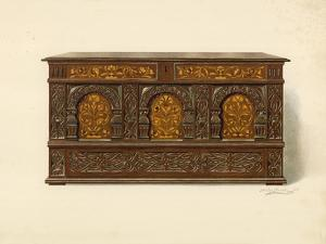 Oak Inlaid Chest, Property of Arthur James by Shirley Charles Llewellyn Slocombe