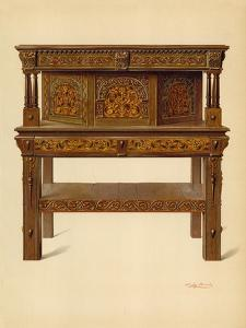Oak Standing Buffet, Property of Edward Quilter by Shirley Charles Llewellyn Slocombe