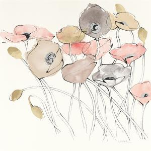 Black Line Poppies I Watercolor Neutral by Shirley Novak