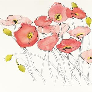 Black Line Poppies I Watercolor by Shirley Novak
