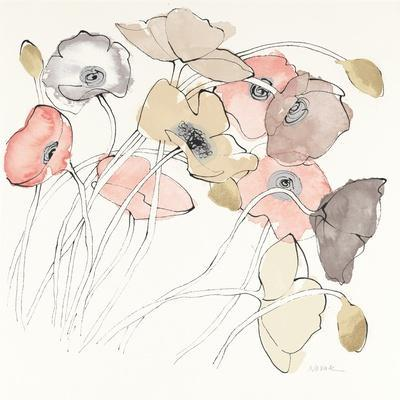 Black Line Poppies II Watercolor Neutral
