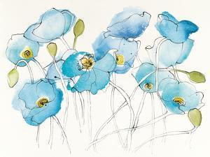 Black Line Poppies III Watercolor by Shirley Novak
