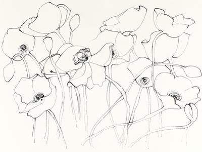 Black Line Poppies III by Shirley Novak