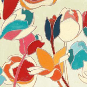 Cloisonne Tulipe II Turquoise and Indigo Vignette by Shirley Novak
