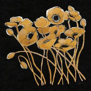 Gold Black Line Poppies I v2 by Shirley Novak