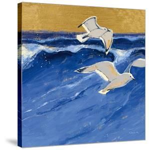 Seagulls with Gold Sky III by Shirley Novak