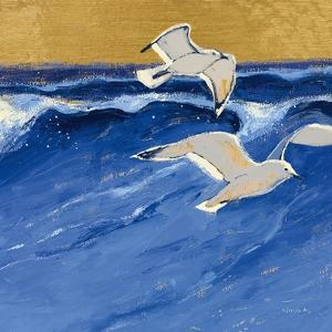 Seagulls with Gold Sky III by Shirley Novak