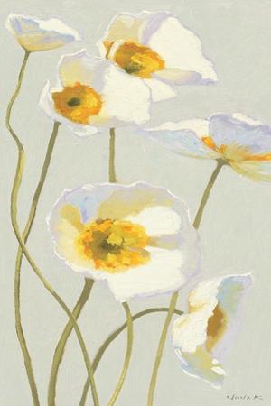 White on White Poppies Panel I by Shirley Novak