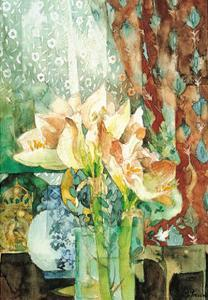 Pink Amaryllis, Red Curtain by Shirley Trevena