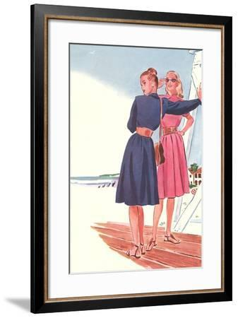 Shirtwaists on Boardwalk--Framed Art Print