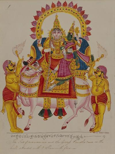 Shiva and Parvati on the Bull Nandi, India--Giclee Print