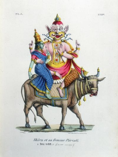 Shiva, One of the Gods of the Hindu Trinity (Trimurt) with His Consort Parvati, C19th Century-A Geringer-Giclee Print
