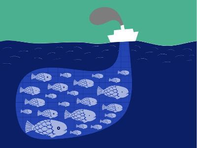 Shoal of Fish in the Boat Fishnet-Complot-Art Print