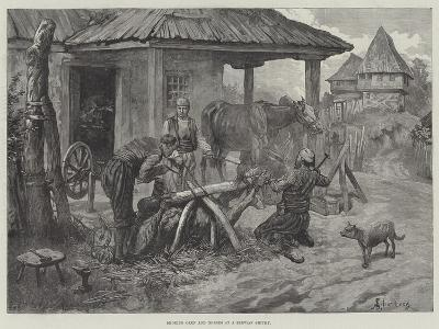 Shoeing Oxen and Horses at a Servian Smithy-Johann Nepomuk Schonberg-Giclee Print